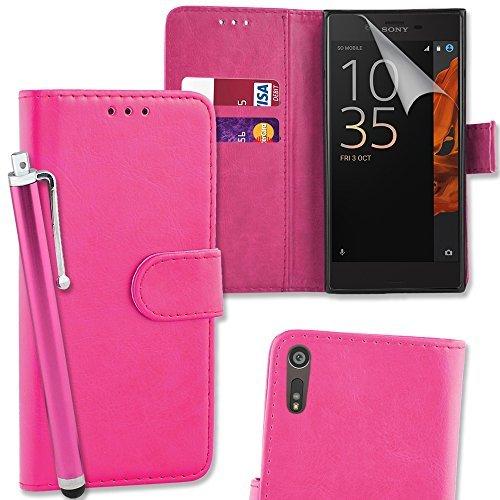 Connect Zone Sony Xperia XZ haute qualité PU étui rabat portefeuille cuir Pochette + Protège Écran + Chiffon De Polissage Et Stylet