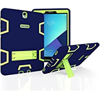 TianTa Funda Galaxy Tab S3 9.7 Híbrido Tres Capas PC + Silicona Funda Carcasa a Prueba de Golpes Kickstand Robusto Defender Cover para Samsung Tab S3 9.7-Inch SM-T820/T825 - Azul Marino/Olivino