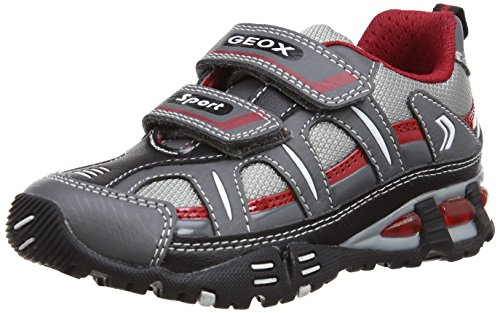 Geox Jr Light Eclipse, Baskets mode garçon Multicolore  (Silver/Red)