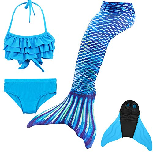 GNFUN Mädchen Meerjungfrauenschwanz Zum Schwimmen mit Meerjungfrau Flosse- Prinzessin Cosplay Bademode für das Schwimmen mit Bikini Set und Monoflosse, 4 Stück Set, Hellblau, 130-140cm