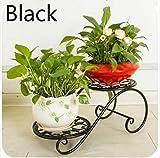 Hoyoo 2-tier mit Blume, rund/quadratisch, Gusseisen mit Balkon Blumen und Deco Regal für zu Hause oder den Garten, Pflanzen, Metall, eisen und Blumen, Pflanzen, Regal, mehrlagige Plat, für Kinderzimmer
