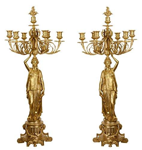 Casa-Padrino Juego de Candelabro Barroco Oro 37,5 x 32,5 x H. 86 cm - Elegante y Suntuoso