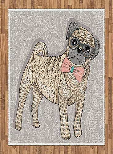 ABAKUHAUS Mops Teppich, Hipster Dog Nerdy Brille, Deko-Teppich Digitaldruck, Färben mit langfristigen Halt, 80 x 150 cm, Hellgelb Hellrosa Hellgrau