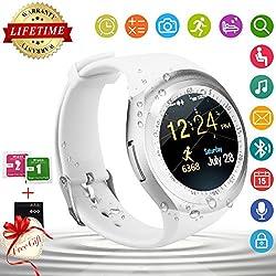 Bluetooth Smart Watch Wasserdicht Handy-uhr Sport Smartwatch Uhr Phone Touchscreen Armbanduhr Smart Uhr Telefon Kompatible Ios Andriod Iphone Smartphones (White)