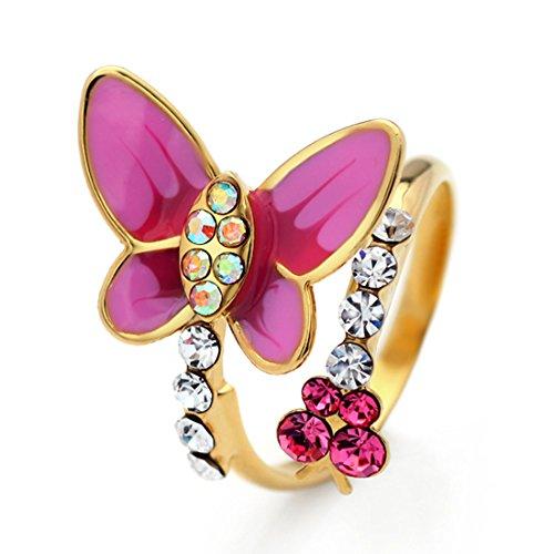 NEOGLORY Verstellbar Ring Emaille Schmetterling Strass Rosa Mädchen Damen Valentinstagsgeschenke (Mädchen Rosa Ring)