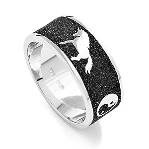DUR Ring Einhorn Traum aus 925 Silber und echtem Lava-Sand für Damen mit Mond und Ying-Yang