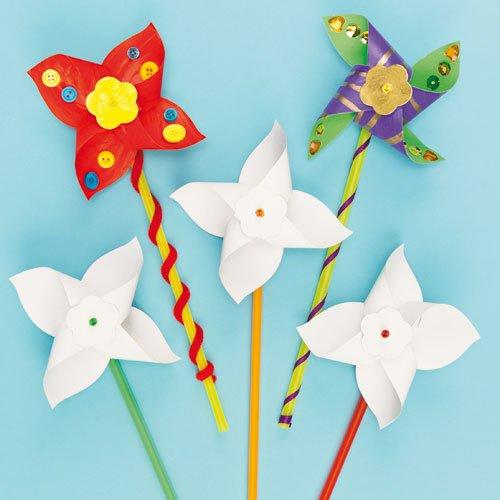 Baker Ross Haz tu Propio Molino de Viento (Paquete de 8) Kits para Decorar, Artes y Manualidades para niños