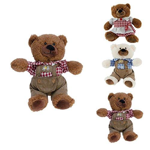 ebos Teddybär in Tracht ✓ mit Lederhose | Hemd | Dirndl (braun / Karohemd rot-weiß)