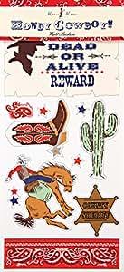 Meri Meri Howdy Cowboy! gommettes repositionnables de 45 Stickers avec tableau noir