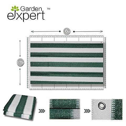 Garden EXPERT balcon / jardin écran protecteur de couvrir, vent, soleil et la protection de la vie privée résistant aux intempéries, vert blanc, 6x0.75