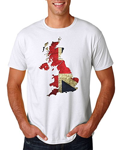 United Kingdom British Map Union Jack Flag Effect - Mens T Shirt