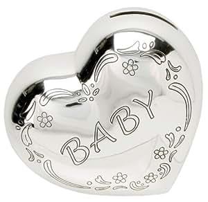Silverplated Heart Shape Baby Money Box