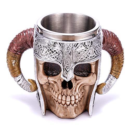 Arola Jarra de cerveza de acero inoxidable guerreros vikingos, jarra de cráneo, con cuerno doble, 500 ml.