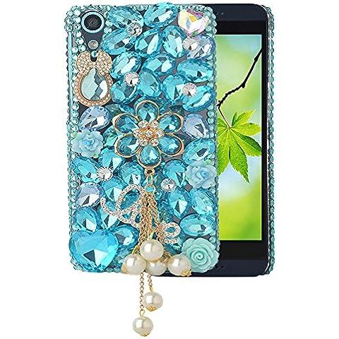 'Spritech (TM) Bling Trasparente per HTC Desire 626,3d Fiore Farfalla in cristallo handmade Accessary Design Cellphone