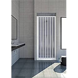 Box douche en PVC pour niche ouverture latérale à une porte à soufflet largeur 170cm, hauteur 185cm, blanc