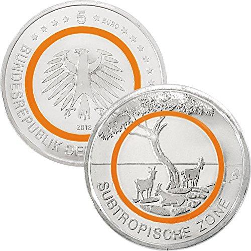 5 Euro Gedenkmünze Deuschland 2018 bfr. - Subtropische Zone