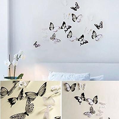 Haimoburg 36er-Set 3D Schmetterling Aufkleber Wandsticker Wandtattoo Wanddeko für Wohnung, Raumdekoration