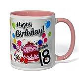Geburtstagstasse Happy Birthday - Endlich 18 - lustiger Kaffeebecher, ein tolles Geburtstagsgeschenk zum 18. Geburtstag, originelle Geschenke kommen Immer gut an (rosa)