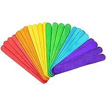 Kanggest 50Pcs Palillos de Madera Coloridos del Helado para el Material de la Guardería DIY Juguetes