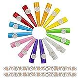 YNOUU 16 Pezzi Kazoos di Plastica con flauto membrana bocca Kazoo Musical Instrumentscon 32 flauto membrana bocca,8 Colorati Kazoos Strumenti Musicali,Grande Dono per Amanti della Musica.