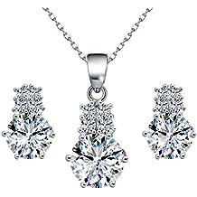 Damen Schmuckset, ATMOKO 925 Sterling Silber Halskette& Ohrringe Set Kette für Jahrestag, Geburtstag, Muttertag, mit Geschenkbox