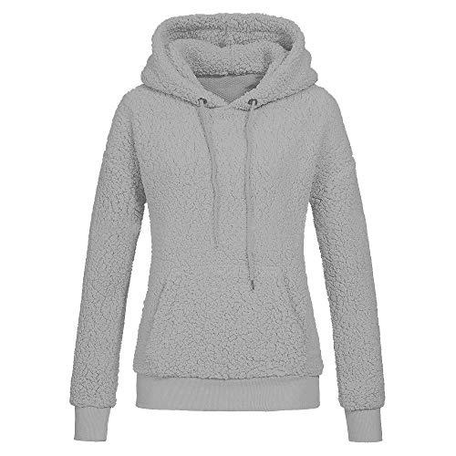 Damen Fleecejacke Sweatjacke Jacke Mit Kapuze Oversize Teddy Hoodie MYMYG Kapuzepullover Kapuzejacke Fleece Pullover Warme Flauschjacke Wintermantel(D3-Grau,EU:38/CN-L)
