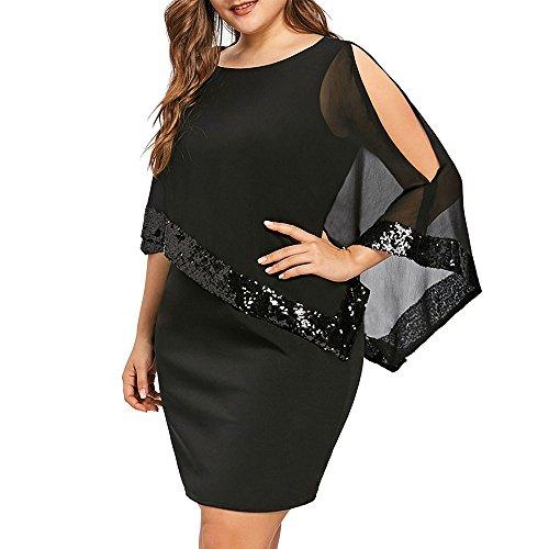 iDeesse Damen Übergröße Zweiteilig 3/4 Arm Rundkragen Pailletten Kleid (Schwarz, 2XL) - 3