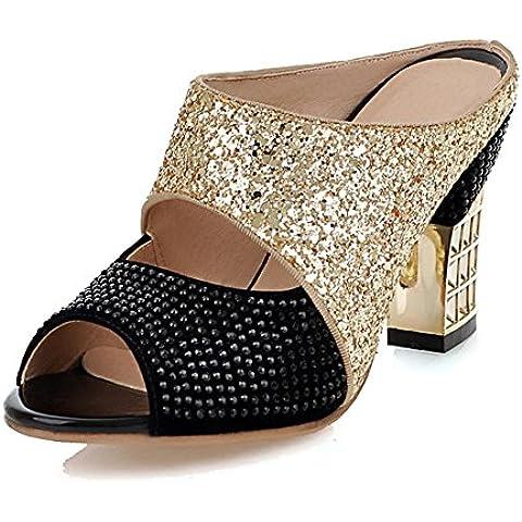 Strass Infradito in estate/Femmina luce grezza con sandali tacco alto/Peep toe/Pantofole