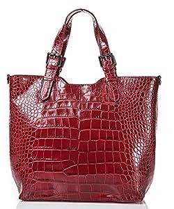italienische Damen Handtasche Lima aus echtem Leder in karmin rot, Made in Italy, Shopper 31x30 cm