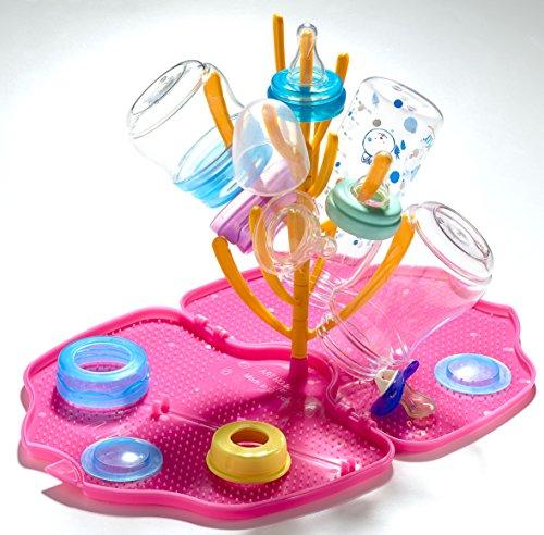 Bouteille Séchage Rack Peut contenir jusqu'à huit bouteilles, mamelons, disques, caches et sucettes Couleur Rose