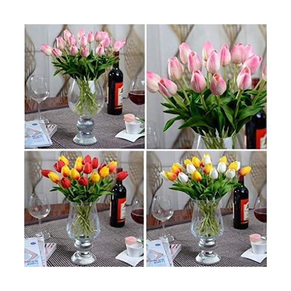 10Piezas tulipán Flores Artificiales para decoración de látex Real Touch Bridal Wedding Bouquet Art Deco (Azul) [Kitchen]