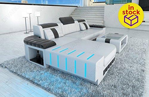 Divanova vega – divano angolare in similpelle - bianco e grigio
