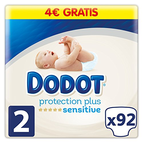 Dodot Pañales Protection Plus Sensitive,Talla 2, para Bebes de 4-8 kg - 92 Pañales