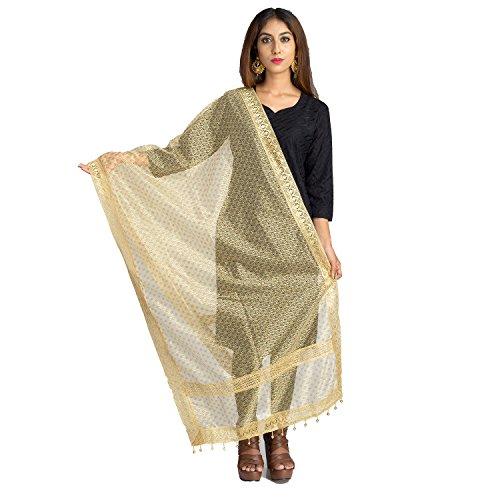 Lionize Women's Golden Net Dupatta