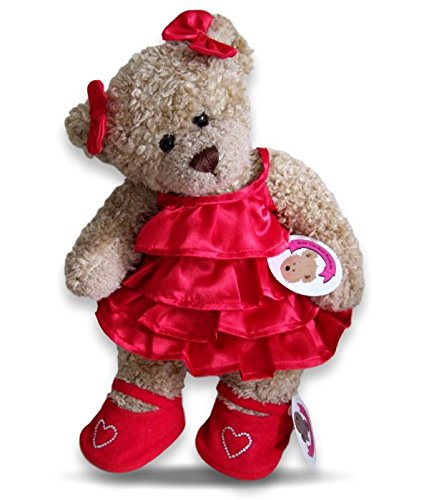 ToyCentre Red Frilly Satin Dress & Shoes Teddy Bear Clothes fit Build a Bear Factory