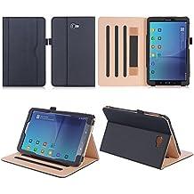 ISIN Funda para Tablet Serie Funda de Premium PU con Stand Función para Samsung Galaxy Tab A 10.1 pulgadas SM-T580N T585N  Android 6.0 Marshmallow Tablet con Velcro Correa de Mano, Múltiples vista ángeles y Documento Tarjeta de Bolsillo Negro