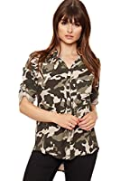 wearall damen camouflage dip hem lange shirt dames top. Black Bedroom Furniture Sets. Home Design Ideas