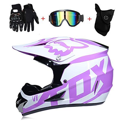 LTongx Moto Motocross Cascos & Guantes & Goggles estándar de los niños Quad Bike ATV Go Karting Casco,S(52~53cm)