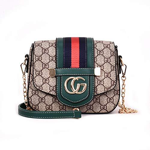 Ldyia Bag Damen Kette Tasche Umhängetasche Drucken kleinen quadratischen Messenger Bag Mini Handtasche, grün -