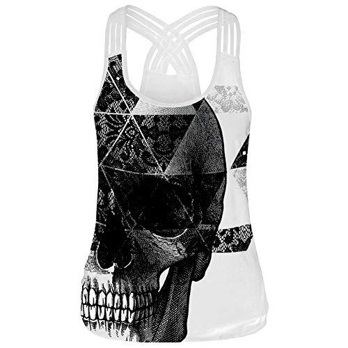 Morbuy Mujeres Deporte Camiseta de Tirantes, Gótica 3D Sin Mangas diseño de Calaveras Tanque Superior corsé Disfraz de Tank Tops Chaleco Chaleco (L, Cráneo)