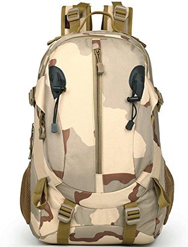 Lakaka Wanderrucksack Military Rucksack Taktischer Rucksäck Große Militär Assault Pack Tasche für Wandern Camping Hikking Bergsteigen Khaki
