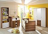 Babyzimmer Kinderzimmer komplett Set WIKI 2 in Walnuss / Weiß - Babymöbel Komplettset mit grossem Kleiderschrank (1 Spiegeltür), Babybett, Lattenrost, Wickelkommode mit Wickelaufsatz und Standregal