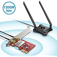 BrosTrend 1200Mbps PCIe WiFi Network Card for Desktop PC of Windows 10/8.1/8/7, PCI Express, AC1200 Dual Band 5GHz 867Mbps / 2.4GHz 300Mbps, 2 X 5dBi Antennas w/Magnetic Base for Flexible Deployment