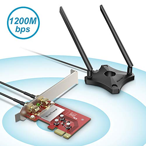 BrosTrend 1200Mbps PCI Express PCIe WLAN Karte Netzwerk-Adapter Dualband 5 GHz WiFi 867 Mbps 2,4 GHz 300 Mbps mit 2 x 5dBi Externe Antennen + Magnet Antennen fuß, für Windows 10/8.1/8 / 7, AC6 (Wifi Pci-adapter)