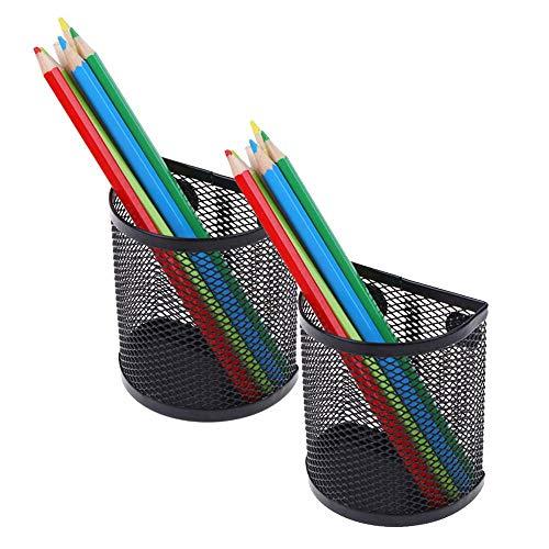 Siqdak Magnetische Aufbewahrungskörbe, 2 Stück, quadratisch, Eisengitter, stark, magnetisch, Stifthalter für Schreibtafel, Kühlschrank, Schließfach (2 Stück halbrund)