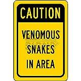 'Vorsicht Schlangen in Bereich Aluminium Schild Blechschilder Vintage Road Schilder Dose Teller Schilder dekorativer