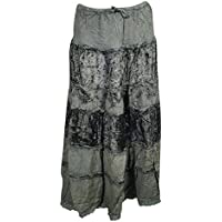 Gypsy Skirts For Womens Velvet Lace Green Gray Tiered Peasant Long Skirts