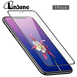 Linseng iPhone X Panzerglas, Schutzfolie für iPhone X,HD Ultra Klar, 9H Härte, 3D Touch Kompatibel, Full Coverage Displayschutzfolie für iPhone X(Schwarz)