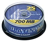 Platinum CD-R 700 MB CD-Rohlinge (52x Speed, 80 Min) 25er Spindel