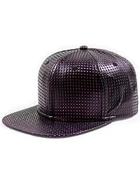 LOCOMO Black PU Leather Dot Hole Baseball Cap FFH250ORN